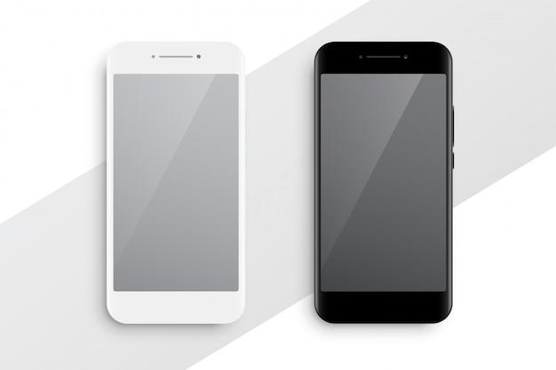 黒と白のスマートフォンのモックアップ