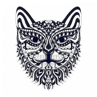Черно-белая стилизованная голова кошки zentangle вектор