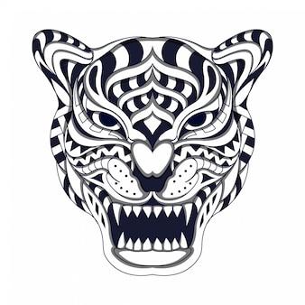 Черно-белый стилизованный тигр в этническом векторе