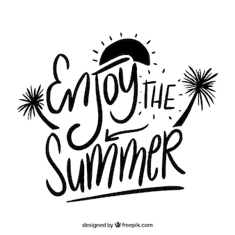 Black and white summer lettering concept