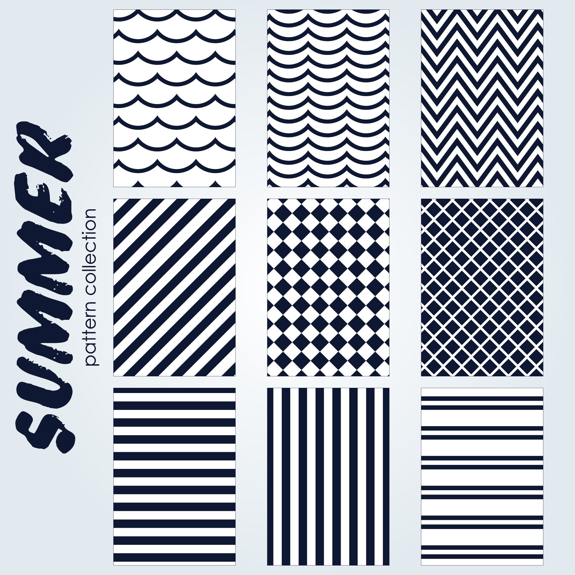 Black and white summer pattern collection