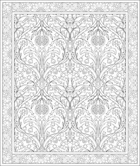 カーペット用の黒と白のテンプレート。ザクロと東洋の花柄。