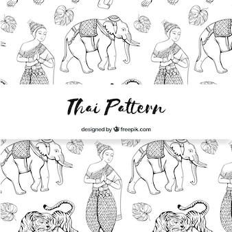 Black and white thai pattern with elegant style