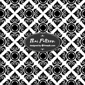 Black and white thai pattern with flat design
