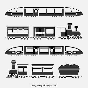 Черно-белая коллекция поездов