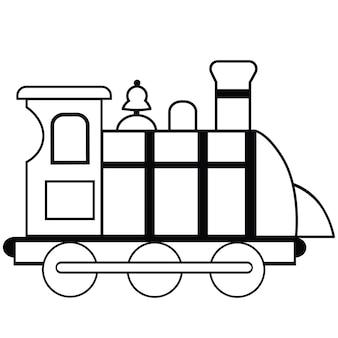 Черно-белый поезд векторные иллюстрации