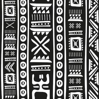 Черно-белый племенной рисунок вектор бесшовные модели. печать абстрактного геометрического искусства ацтеков. этнический битник фон. обои, тканевый дизайн, ткань, бумага, обложка, текстиль. нарисованный от руки.