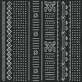 幾何学的要素、伝統的なアフリカの泥布、部族のデザインと黒と白の部族の民族のパターン