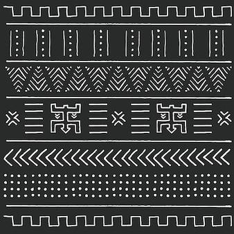 Черно-белый племенной этнический узор с геометрическими элементами, традиционная африканская грязевая ткань, племенной дизайн