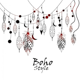 Black and white tribal vector template boho pattern