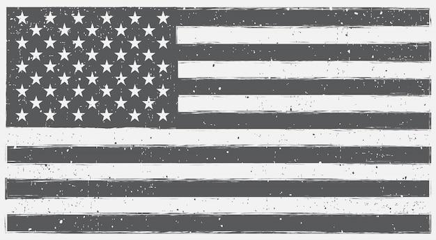 グランジスタイルの黒と白のアメリカの国旗