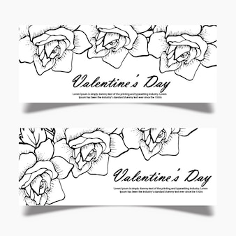 Черно-белый валентин баннер