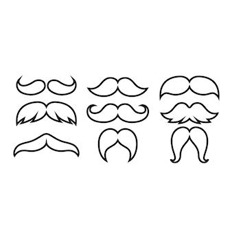 흑인과 백인 다양 한 스타일 콧수염 그림 절연