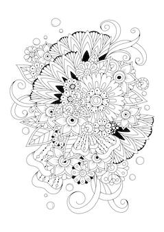 着色のための黒と白のベクトルの背景。抽象的な花の着色のページ。