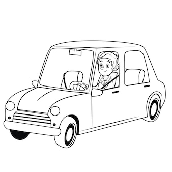 Черно-белые векторные иллюстрации водителя с автомобилем