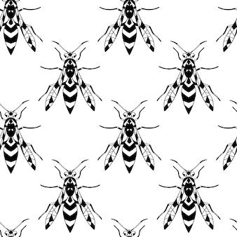 흰색 격리된 배경에 말벌이 있는 흑백 벡터 원활한 패턴입니다. 당신의 디자인을 위해.