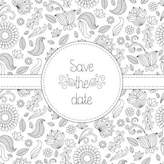 花のフレームとテキストの黒と白のベクトルの結婚式の招待カードは、日付を保存します。