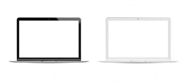 黒と白のバージョンのラップトップpcセットホワイト液晶