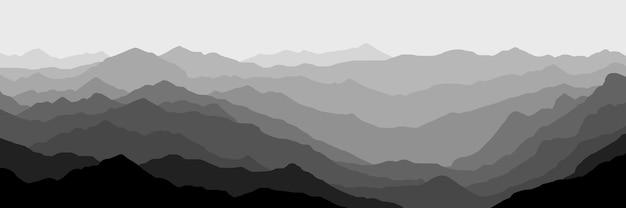 아침 안개에 산의 흑백보기
