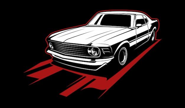 黒と白のビンテージ車