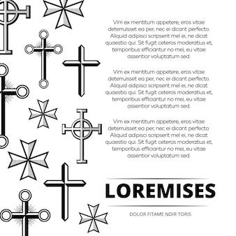흑인과 백인 빈티지 십자가 포스터 배경