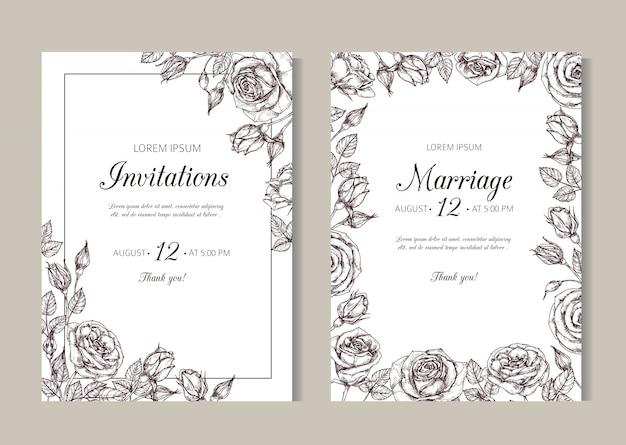 黒と白の結婚式の招待状のテンプレート
