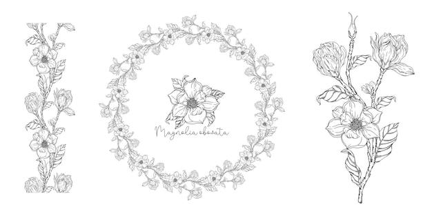 Черное и белое. белая магнолия. векторная иллюстрация. ботаническая иллюстрация. цветочный венок