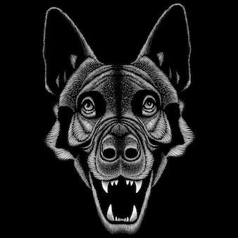 黒と白のオオカミの図
