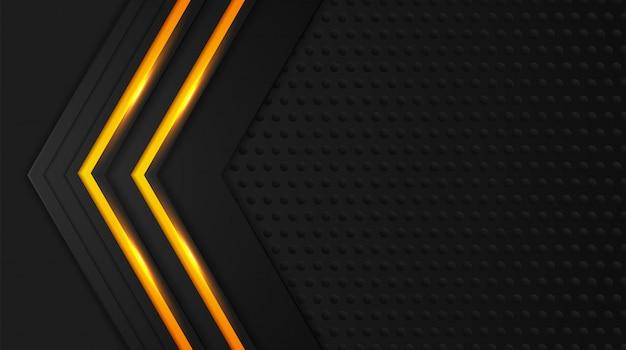 Черный и желтый фон векторный слой перекрытия на темном пространстве для дизайна фона