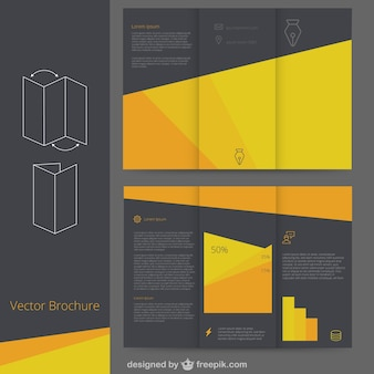 팜플릿 템플릿-검정색과 노란색