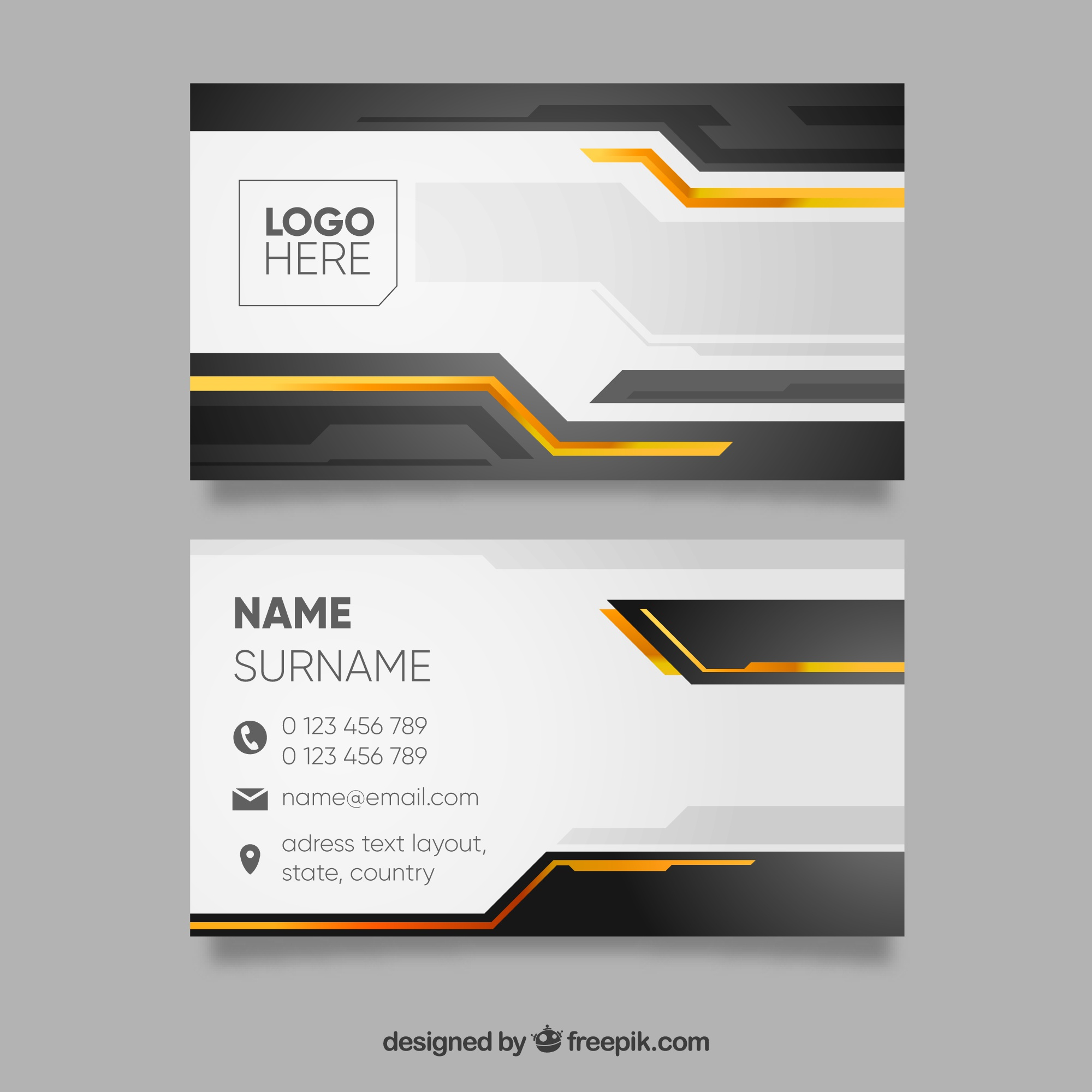 Black and yellow business card template