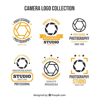 Черная и желтая коллекция логотипов камеры