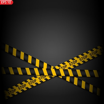 Изолированные черные и желтые линии предупреждения. реалистичные предупреждающие ленты.