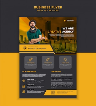 Черно-желтый креативный бизнес флаер шаблон дизайна