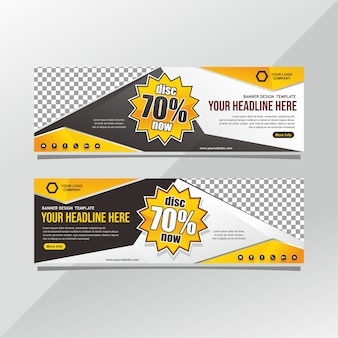 Black and yellow discount banner