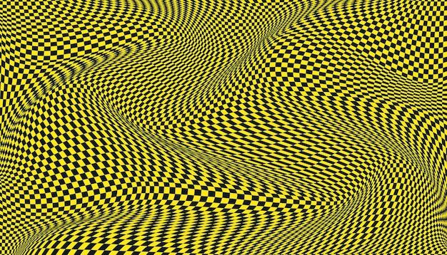 검은색과 노란색 왜곡된 체크 무늬 배경