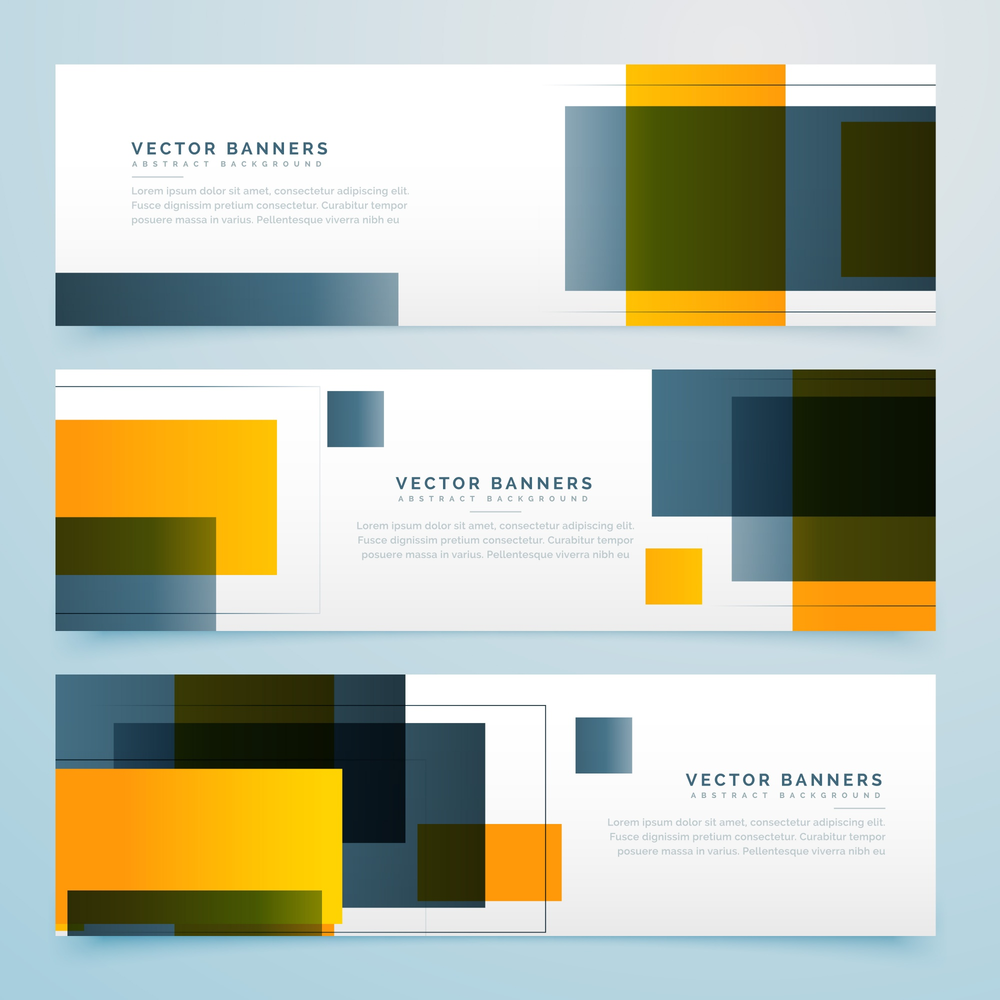 Black and yellow geometric banners