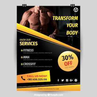 Black and yellow gym cover template with image