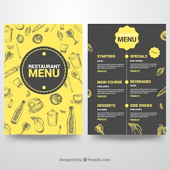 Black and yellow menu template