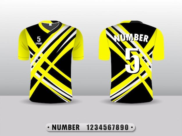 黒と黄色のtシャツスポーツデザイン。