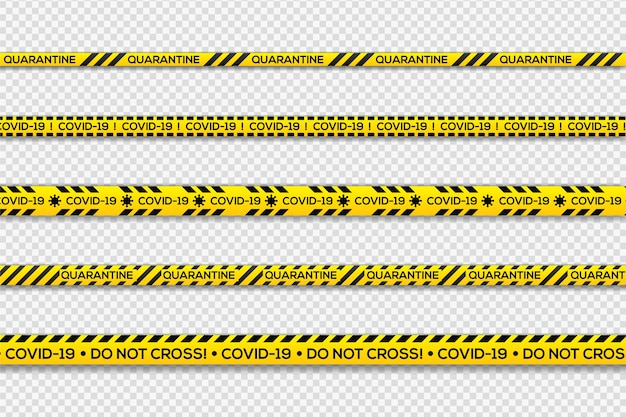 검정색과 노란색 경고 검역 줄무늬
