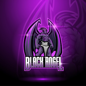 Black angel mascot logo
