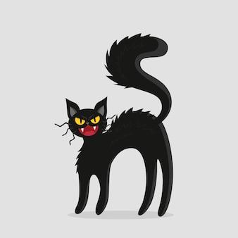 Черный злой кот мультяшном стиле. векторная иллюстрация для хэллоуина.