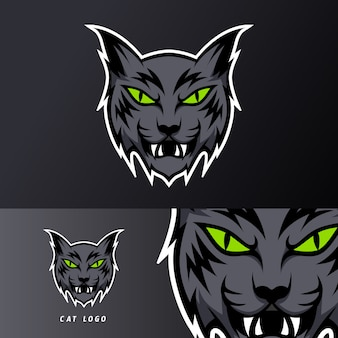 Black angry cat mascot sport esport logog template