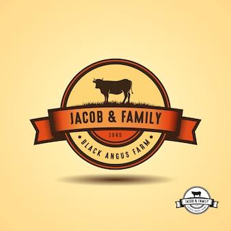Black angus logo design template. cow farm logo design