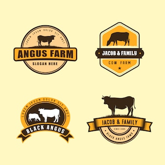 Black angus logo design template. cow farm logo design