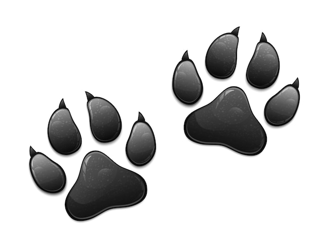 Черный отпечаток лапы животного, изолированные на белом фоне.
