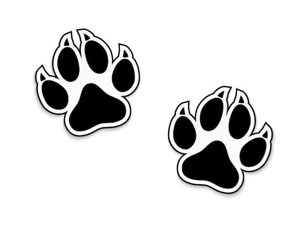 白で隔離される黒い動物の足跡
