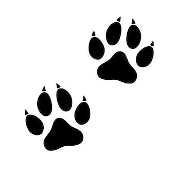 Black animal paw print isolated on white
