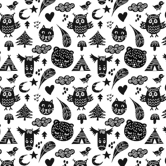 Black animals pattern